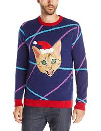 mens light up ugly christmas sweater blizzard bay men s light up lazer kitty ugly christmas sweater at