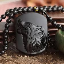 wolf necklace pendant images Black obsidian wolf pendant necklace the yoga mandala store jpg
