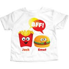 personalized bff burger and fries t shirt set