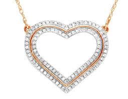 necklace love heart images Ladies 14k rose gold real diamond love heart pendant necklace 1 4 ct jpg