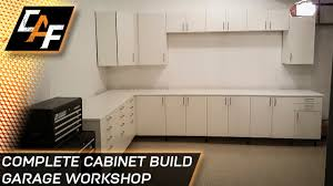 kitchen cabinets in garage ikea sektion cabinets installing garage workshop caffablab youtube