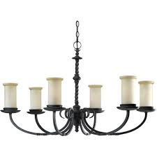 Forged Chandeliers Progress Lighting Santiago Collection 6 Light Forged Black