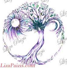 tree of design in color purple aqua green tree