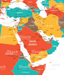 Middle East And Asia Map by Colored Map Of Middle East Stock Vector Art 541831468 Istock