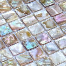 Shell Tiles  Natural Seashell Mosaic Mother Of Pearl Tiles - Seashell backsplash