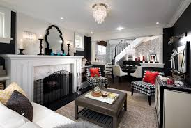 Yellow And Black Living Room With Black And White Trellis Ottoman - Black and white family room