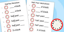 o u0027clock and half past times activity sheet time telling time