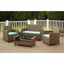 Costco Patio Furniture Sets - wicker patio set 4pc brown rattan resin teal cushions outdoor