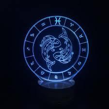 Neon Desk Lamp 3d Pisces Zodiac Sign Led Desk Lamp Flash Changing Colour U2013 Best