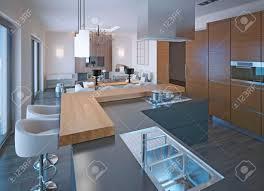 cuisine avec bar comptoir conception de la cuisine néoclassique avec bar comptoir en bois et