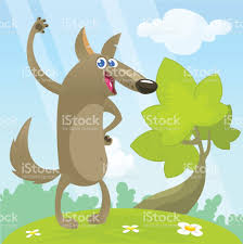 cartoon wolf vector illustration for kids isolated design for