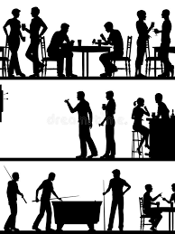 pubga e pub game silhouettes stock vector image of busy snooker 59771883