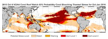 World Temperatures Map by Noaa Declares Third Ever Global Coral Bleaching Event