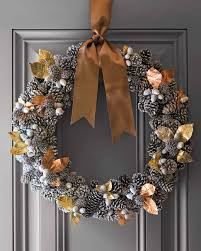 pinecone wreath gold leaf accent pinecone wreath martha stewart