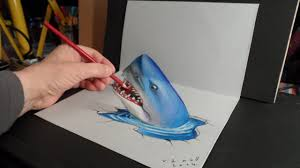 3d trick art drawing shark optical illusion youtube