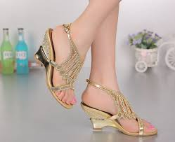 gold wedding shoes for summer new fashion wedding shoes gold color wedges heels shoes
