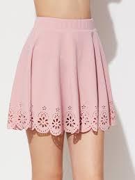 laser cut scallop hem textured skirt shein sheinside