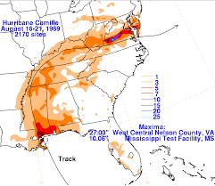 Rainfall Totals Map Hurricane Camille August 16 21 1969