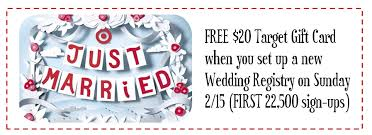 wedding registry deals hot target free 20 gift card when you set up a new wedding