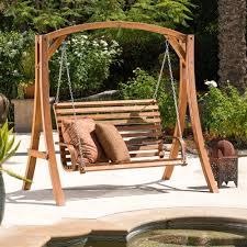 Swinging Patio Chair Outdoor Swing Patio Furniture Backyard Loveseat Teak Wood Lawn And