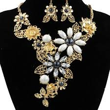 gold crystal bridal necklace images New top quality crystal bridal jewelry sets big size gold turkish jpg