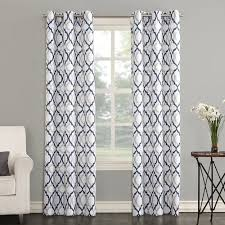 Sheer Navy Curtains Big One Decorative 2 Pack Semi Sheer Trellis Scroll Window