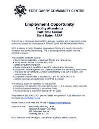 Parking Attendant Job Description Welcome Fort Garry Community Centre
