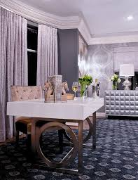 Bedroom Writing Desk Eclectic Master Bedroom With Interior Wallpaper By Nina Magon