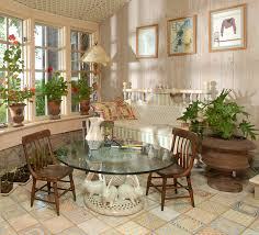 interior nice vintage country sunroom decor with glass top round