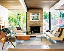 in the living room of a classic eichler a travertine topped