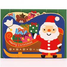 cute santa claus sleigh bear party glitter letter pop up christmas