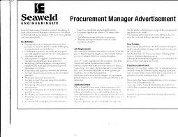 quote job reference seaweld engineering ltd procurement manager advertisement