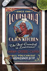 amazon com louisiana cajun kitchen crawfish vintage sign 9x12