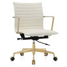 Desk Chair Modern Marquis Gold White Leather Modern Office Chair Eurway