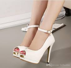 wedding shoes office hot ankle white heels bridal pumps shoes women high