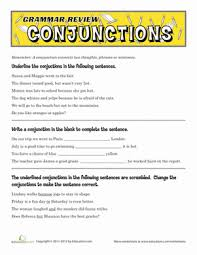 grammar review conjunctions worksheet education com