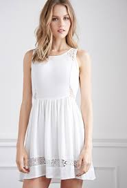 fit and flare dress forever 21 forever 21 lace paneled fit and flare dress in white lyst