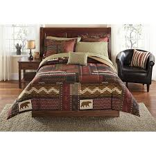 theme comforters brown wildlife geometric patchwork theme comforter