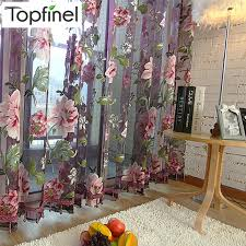 Purple Floral Curtains Sale Purple Floral Tulle In Sheer Curtains For Living Room The