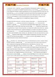 worksheets thanksgiving cloze text