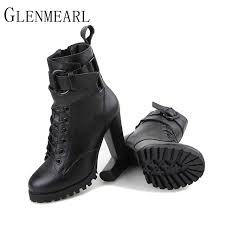 womens boots leather black 2018 genuine leather boots fashion fall winter platform high