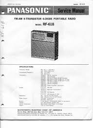 vintage panasonic service manual model rf 618 9 transistor fm am