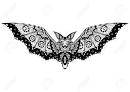 bat line art design for coloring book for tattoo logo
