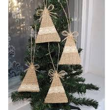 Cutting Christmas Tree - hemp bow hand cutting christmas tree decorations for home