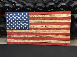 Flags Us Rustic Wooden American Flag Charred W Color Burned Flag