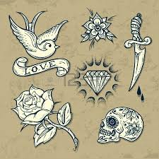 tattoo old school diamond tattoo monochrome elements set with anchor swallows and diamond