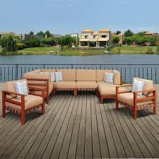 amazonia derbyshire 6 person eucalyptus patio sectional set with