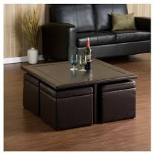 faux leather coffee table ottoman with table inside brown leather circle round cream storage
