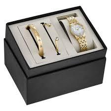 bulova ladies bracelet images Ladies 39 bulova crystal accent gold tone watch and bangle boxed set jpg