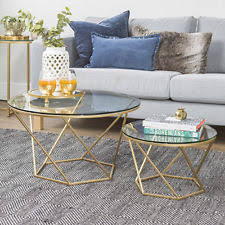 gold nesting coffee table walker edison af28clrgggd geometric glass nesting coffee tables
